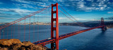 Fototapeta Bridge - panoramic view of famous Golden Gate Bridge
