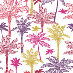 Tapeta Vector palm trees seamless pattern background with hand drawn