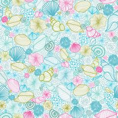 FototapetaVector seashells line art seamless pattern background with hand