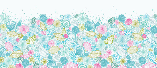 FototapetaVector seashells line art horizontal seamless pattern ornament