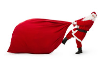 Santa Claus With Huge Bag Full Of Presents Isolated