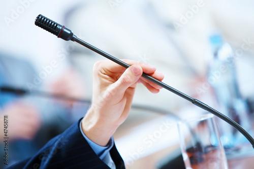 Fotografía  Conference hall with microphones