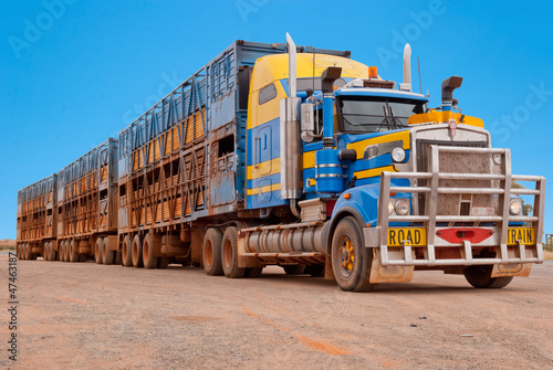 fototapeta na drzwi i meble Pociąg drogowy w australijskim buszu