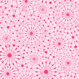 Vector pink abstract line art circles seamless pattern