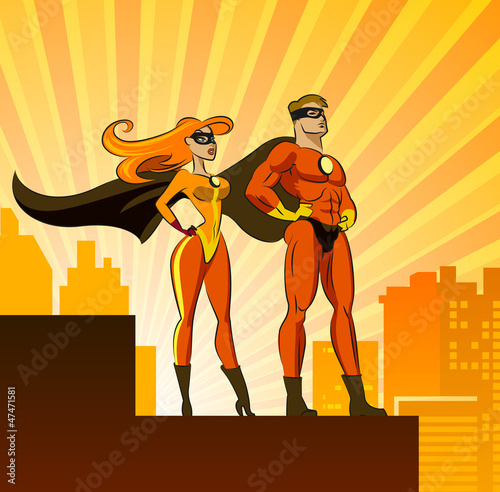 Door stickers Superheroes Super Heroes - Male and Female.