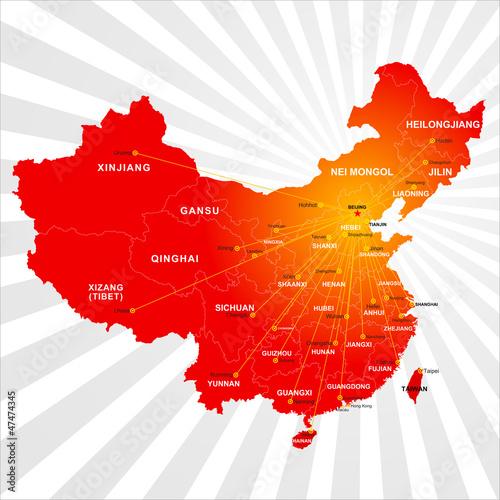 Poster Carte du monde Vector China map