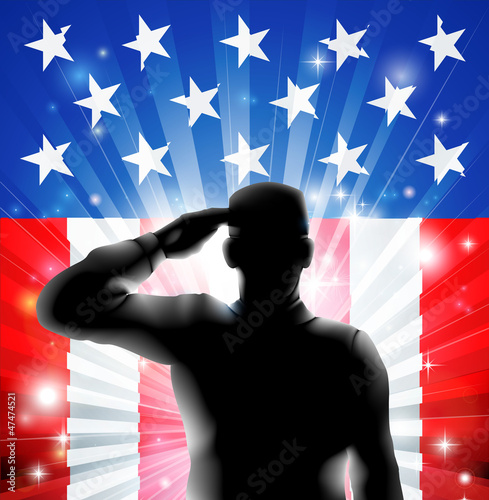 Ingelijste posters Militair US flag military soldier saluting in silhouette