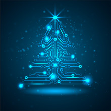 Abstract Technology Christmas Tree.