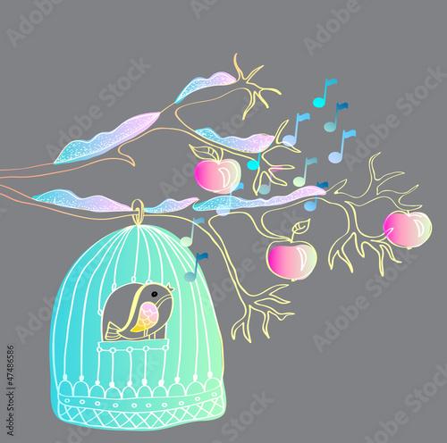 In de dag Vogels in kooien winter background with cage and bird