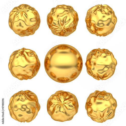abstract deformed golden balls Fototapeta