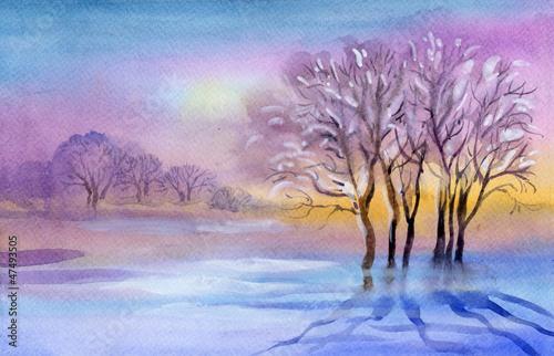 kolekcja-pejzazy-akwarela-zimowy-krajobraz