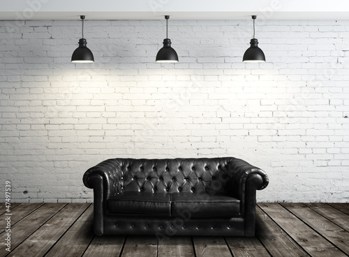 Obraz leather sofa - fototapety do salonu