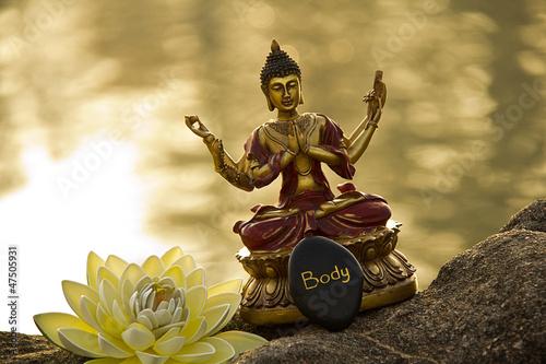 Plissee mit Motiv - Meditation am Wasser