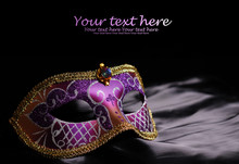 Carnival Mask On Black Silk Ba...