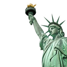 Statue De La Liberté, Isolé, Fond Blanc - New York, USA