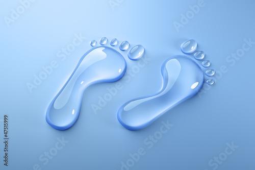Fotografie, Obraz  Wasser-Fußabdruck