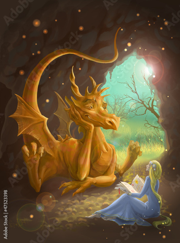 Stickers pour portes Dragons dragon and princess reading a book