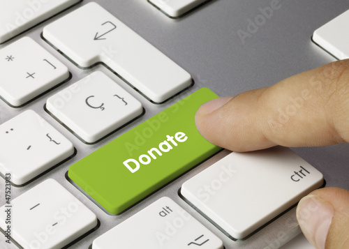 Fotografie, Obraz  Donate keyboard key. Finger