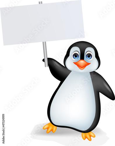 Plakát  Penguin with blank sign