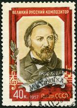 USSR -1957: Shows Mikhail Ivanovich Glinka (1804-1857), Composer