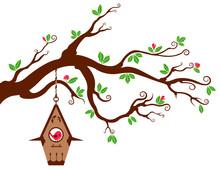 Tree Branch With Modern Birdhouse