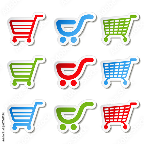 Fotografía  sticker, shopping cart, trolley, item, button