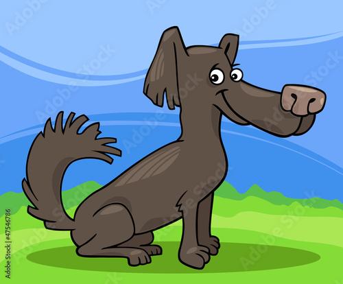 Poster Dogs little shaggy dog cartoon illustration
