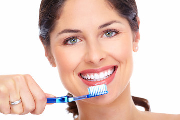 Obraz na PlexiBeautiful woman smile with a toothbrush.