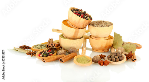 Canvas Prints Herbs 2 wooden bowls and spoons with spices isolated on white