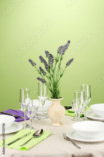 Fototapety, obrazy: Table setting in violet and green tones on color  background