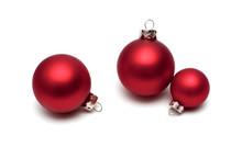 Red Christmas Balls On White B...