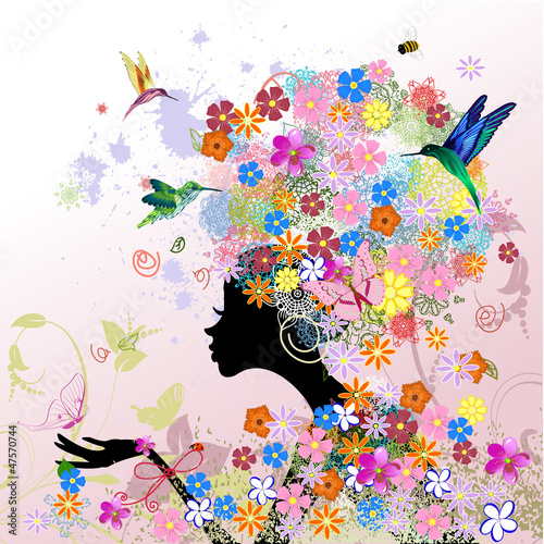 Door stickers Floral woman girl fashion flowers