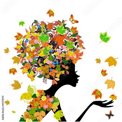 Fotobehang Bloemen vrouw girl fashion flowers in autumn