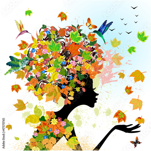Foto op Canvas Bloemen vrouw girl fashion flowers in autumn