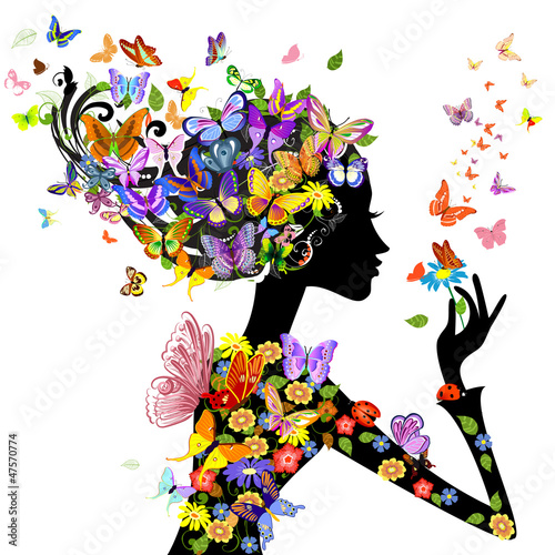 Door stickers Floral woman girl fashion flowers with butterflies