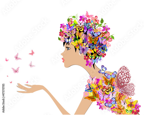 Poster Bloemen vrouw girl fashion flowers with butterflies