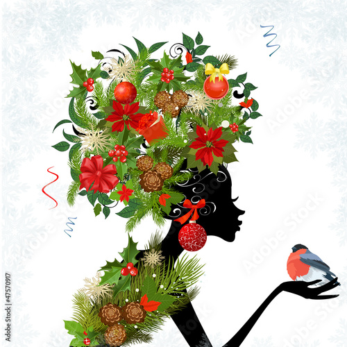 Poster Bloemen vrouw Fashionable girl with Christmas hairstyle for your design