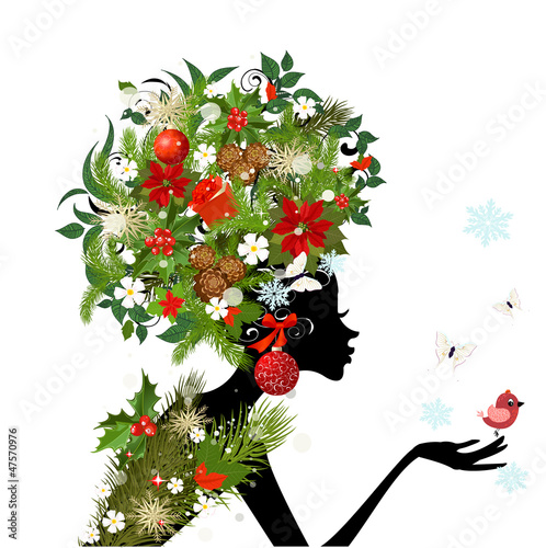 Recess Fitting Floral woman Fashionable girl with Christmas hairstyle for your design