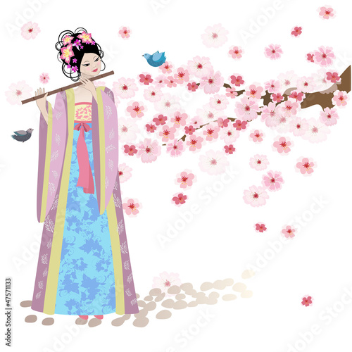 Recess Fitting Floral woman Beautiful Oriental girl near cherry blossoms