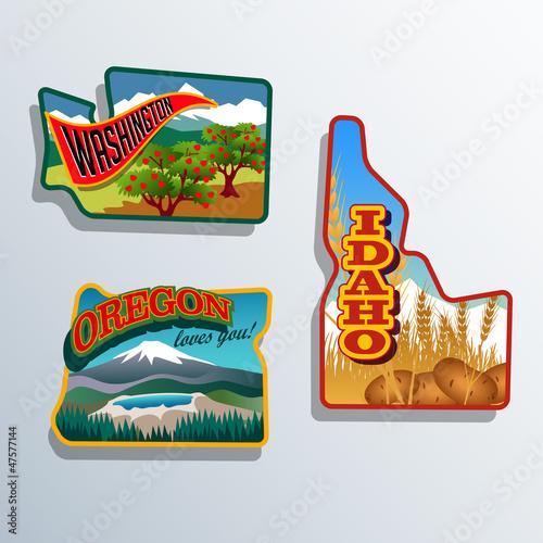 Fotografie, Obraz  United States Outines Washington Oregon, Idaho retro artwork