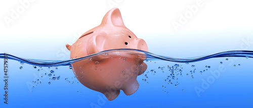 Piggy bank floating in water Canvas Print