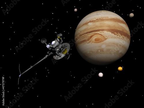 Fototapeta Voyager spacecraft near Jupiter and its satellites - 3D render