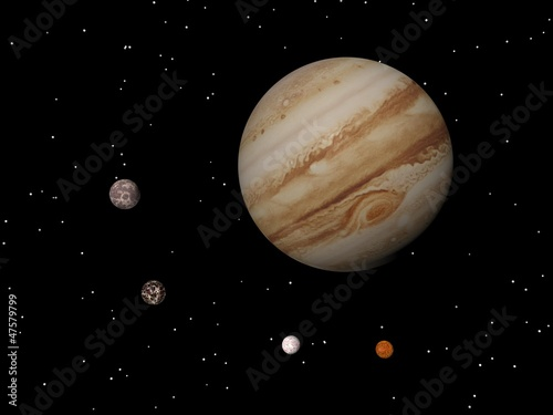 Fotografie, Obraz  Jupiter and four galilean satellites of Jupiter (Callisto, Ganym
