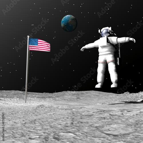 First man on the moon - 3D render Wallpaper Mural