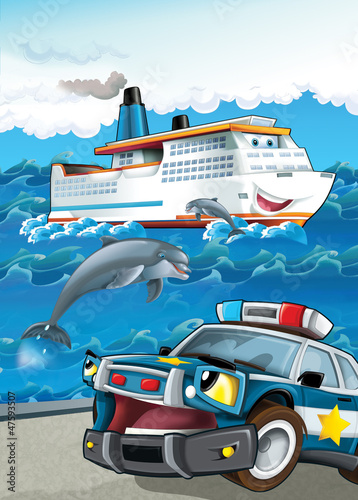 Foto op Canvas Cars The vehicle and the ship
