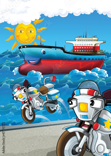 Poster Motocyclette The vehicle and the ship