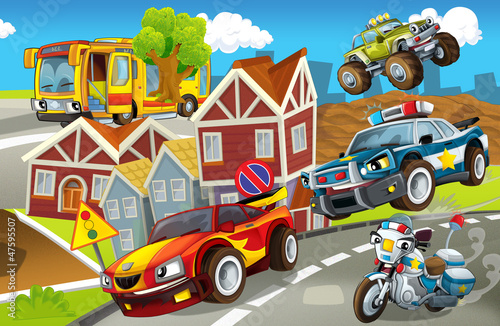 Poster de jardin Voitures enfants The vehicles in city, urban chaos