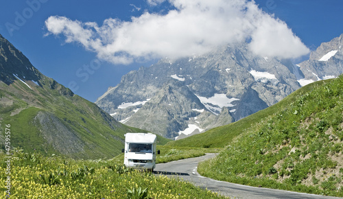 Photo  French Alps,road with motorhome, RV. France.