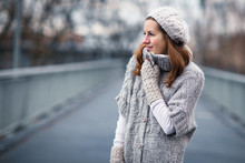 Autumn Portrait: Young Woman Dressed In A Warm Woolen Cardigan