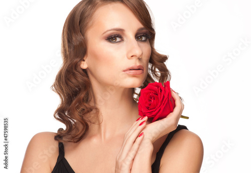 Poster Individuel Beautiful woman with rose